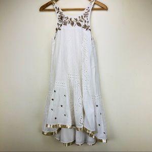 Anthro Leifnotes White Cotton Beaded Boho Dress 2